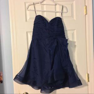 Strapless navy mini ruffled dress